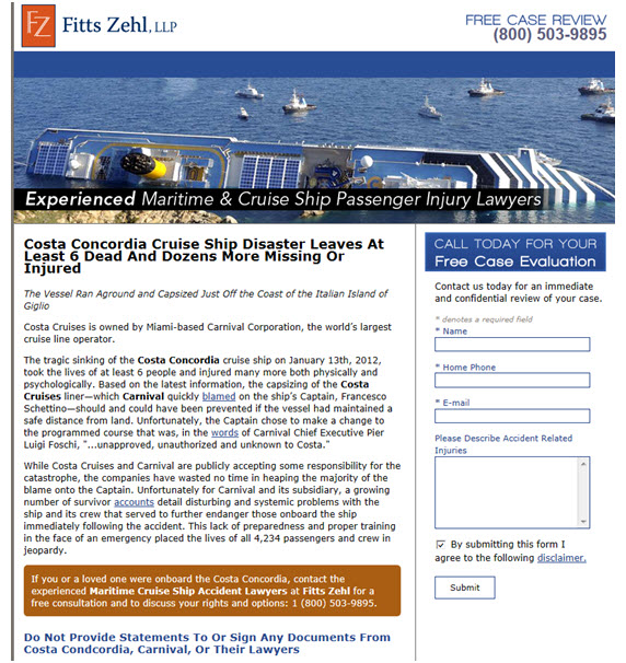 cruise ship law firm landing page
