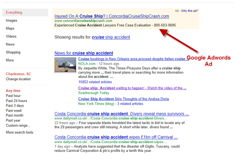 Google Search for Cruise Ship Accident
