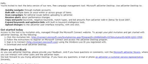 MSN Adcenter Desktop Application Beta